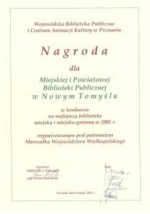 002_2001_Najlepsza biblioteka woj.wlkp