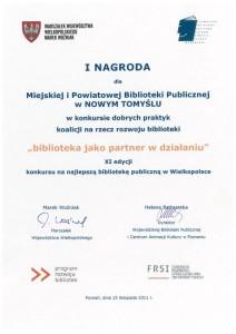 016_2011_I nagroda_biblioteka jako partner w dzialaniu