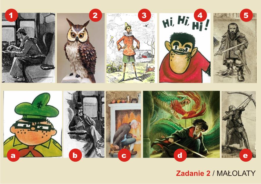 plansza składa się z dziesięciu ilustracji postaci i okładek książek