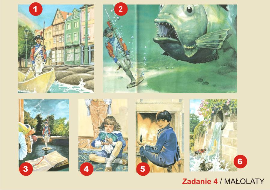 plansza składa się z sześciu ilustracji postaci i okładek książek