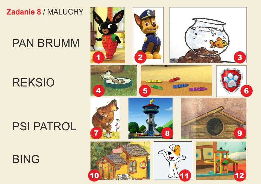 plansza składa się z dwunastu ilustracji postaci i okładek książek