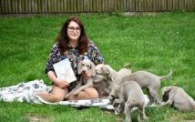 siedząca i uśmiechnięta kobieta w okularach trzyma książkę.wokół niej szczeniaczki.w tle trawa i płot