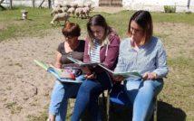 trzy siedzące kobiety, przed nimi otwarte książki, w tle zagroda i owce