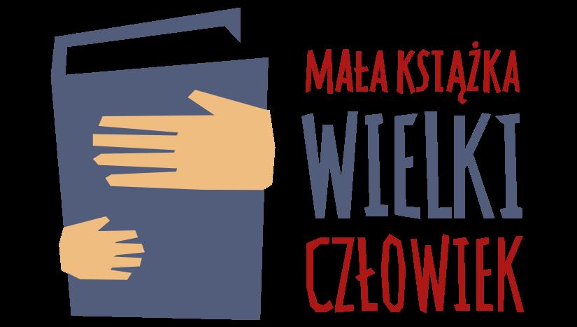 zilustrowane dwie dłonie na stojącej książce Mała Książka Wielki Człowiek