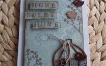 Wisząca prostokątna ozdoba. Na niej napis: Home Sweet Home. U góry po prawej stronie dwa ptaki. W prawym dolnym rogu klatka, ptak na niej i piórko na sznurku. Tło z motywami roślinnymi.
