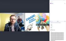 screen przedstawia mężczyznę w okularach w koszuli w kratę i kurtce dżinsowej.po lewej stronie ilustracja szczura na książce i konia w peruce