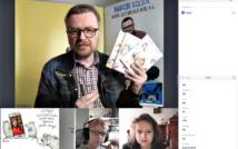screen przedstawia mężczyznę w okularach w koszuli w kratę i kurtce dżinsowej, trzyma w ręce 3 książki.na dole ilustracja z narysowanymi szczurami, potem chłopiec w okularach i ze słuchawkami na głowie, następnie dziewczynka w rozpuszczonych włosach.