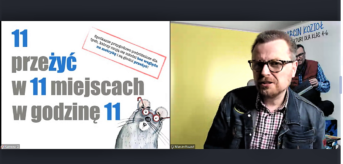 Prawa strona screenu 11 przeżyć w 11 miejscach w godzinę 11.po lewej stronie mężczyzna w okularach, w koszuli w kratę ni kurtce dżinsowej