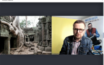 Prawa strona screenu to pozostałości po świątyni.po lewej stronie mężczyzna w okularach, w koszuli w kratę ni kurtce dżinsowej