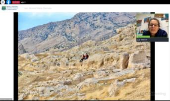 Góry na Bliskim Wschodzie. W prawym górnym rogu podróżniczka opowiada o Iraku i Iranie.