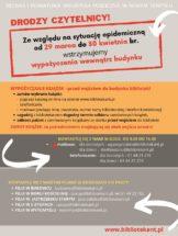 plansza z informacjami o przerwie w wypożyczeniach wewnątrz udynku,od 29 marca do 30 kwietnia oraz kontaktami do placówek bibliotecznych