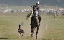 Zdjęcie przedstawiające co najmniej jedną osobę, stojących ludzi , ludzie jadących konno, konia i biegnącego psa na świeżym powietrzu.