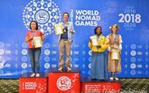 """Zdjęcie przedstawiające 4 osoby, ludzie stoją, w tle widoczny tekst """"2 WORLD 0 NOMAD GAMES 2018 NOMAD GAMES MOMAD MOL GAMES WORLD NOMAD 2 GAMES Kyrgyz Republic Cholpon-A 2- September Grebienion""""."""