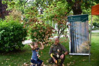 Dwie osoby kucają na świeżym powietrzu. Drzewo i liście.