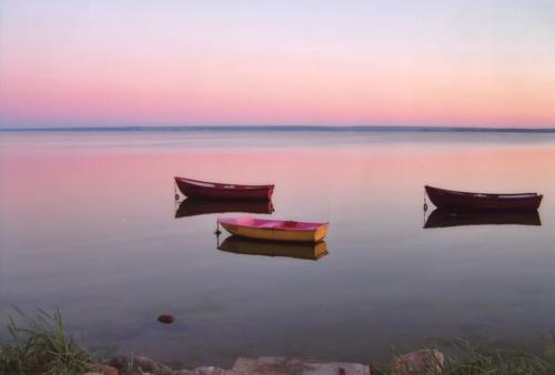 Łodzie o zachodzie słońca. Autorka: Marzena Szułczyńska